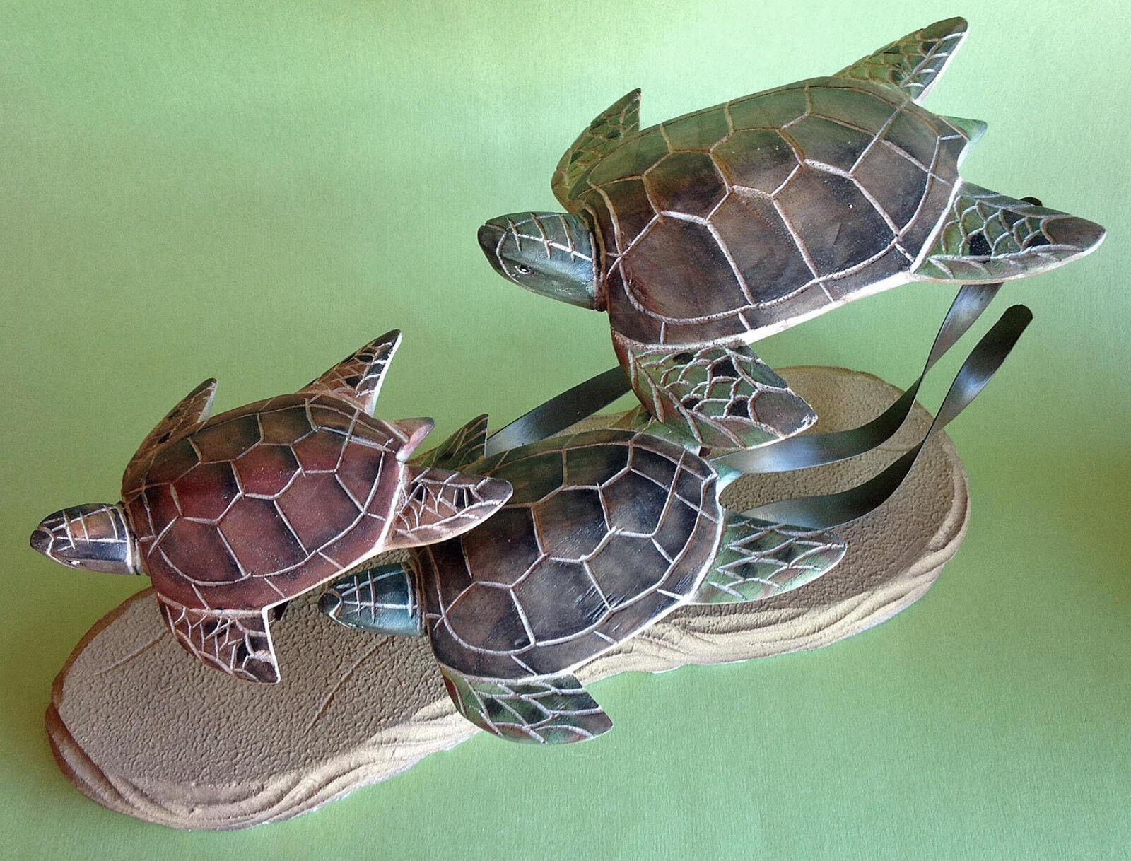 Esculturas-costas tropicales   estatuilla trío tortugas marinas-Decoración náutica