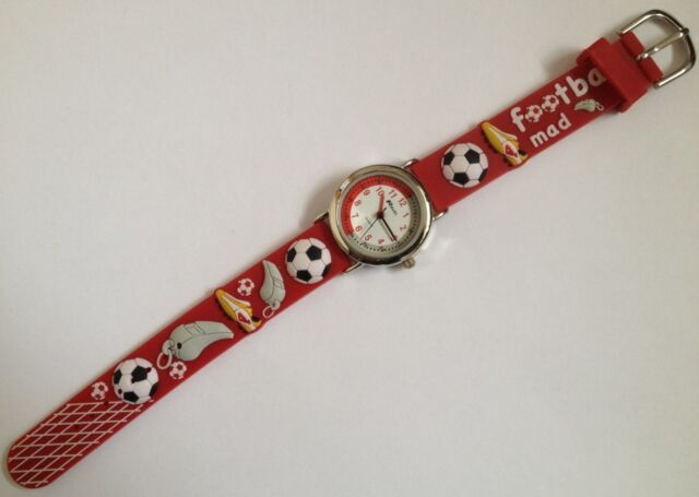 CHILDRENS BOYS FOOTBALL MAD WATCH WITH RED PVC STRAP WITH 3D BOOTS NET WHISTLE