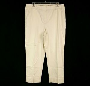Chicos Womens sz 2 12 Ivory Slim Crop Casual Career Ankle Pants