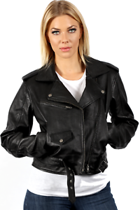 hot sale online f8672 ba20f Dettagli su Donna Vintage Nero Retrò Brando Giacca di pelle da Motociclista