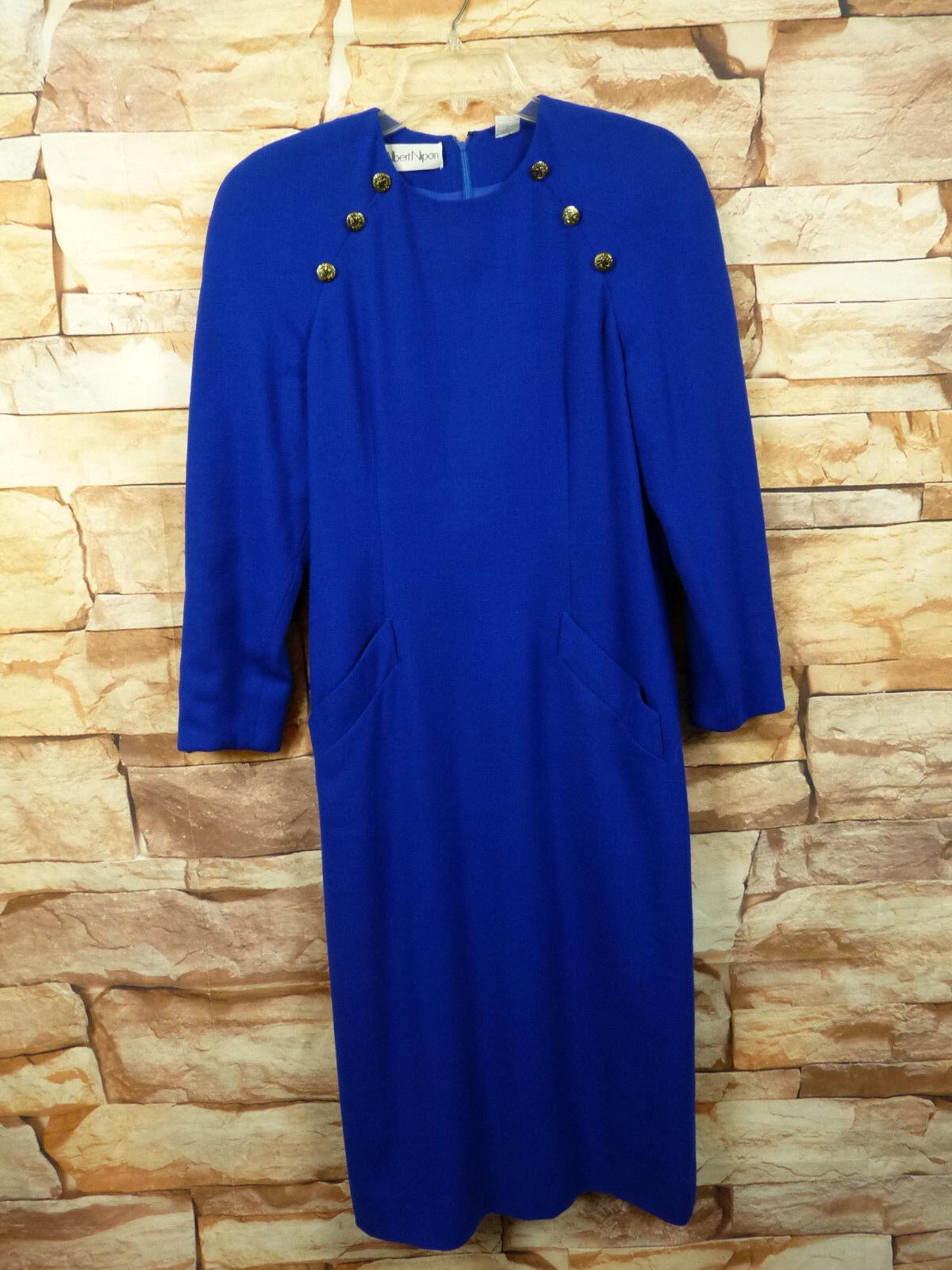 VIntage Albert Nipon Classy bluee Wool Dress, Front Buttons,Size  8