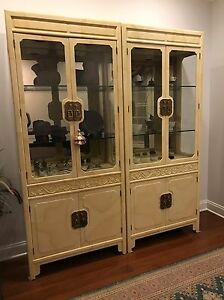 henredon folio 16 asian goatskin china cabinet euc