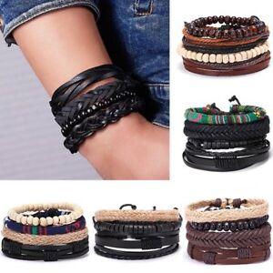4PCS-Fashion-Punk-Leather-Bracelets-Set-Braided-Wristband-Cuff-Bangle-Men-039-s-Gift