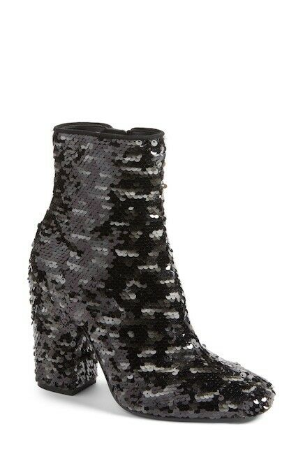 KENDALL + KYLIE HAEDYN BLACK/Silver Sequin HAEDYN KYLIE BOOTIE  size 7.5  New In Box 60772c