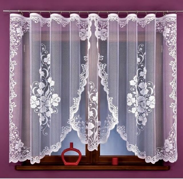 Beautiful Jacquard  Net Curtains Luxury Flower design  READY-MADE 330 cm x 160cm