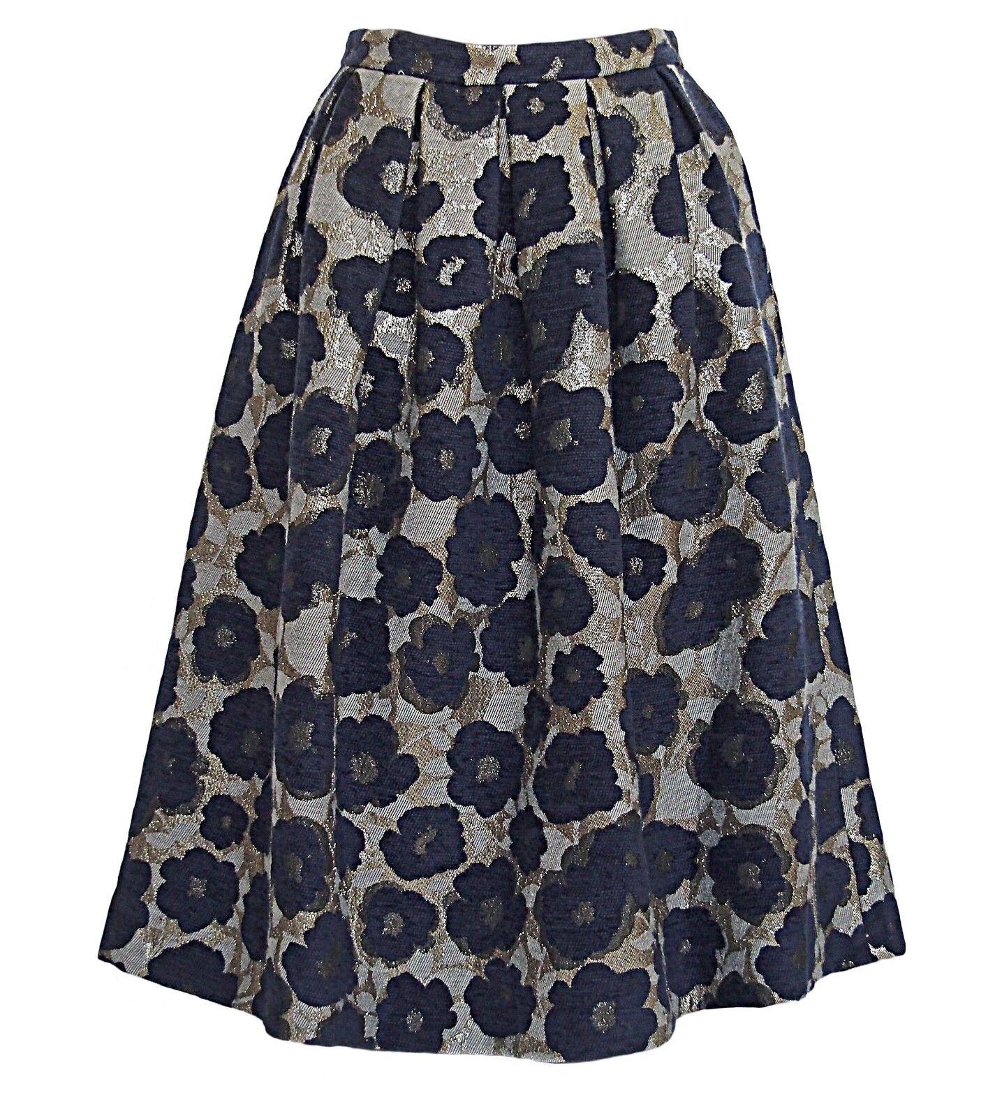DRESS GALLERY France Pleated Skirt Flower Metallic Jacquard Size M