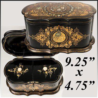 "Box Tea Caddy Systematic Antique Victorian Jennens & Bettridge 10"" Papier Mache Casket"