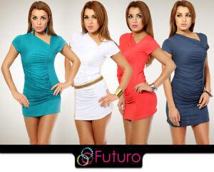 Womens-Draped-Mini-Dress-Short-Sleeves-Tunic-One-Size-Elagant-and-Party-8004