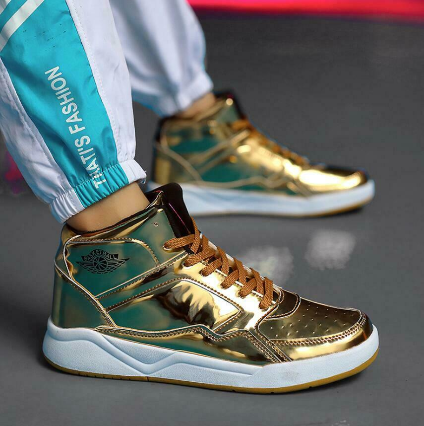 Hot Men's Shiny Leather Sport shoes High Top Breathable Basketball Sneakers New