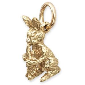 b30d783643f 9ct Gold Rabbit & Carrot Pendant / Charm (3.2g Handmade UK)   eBay
