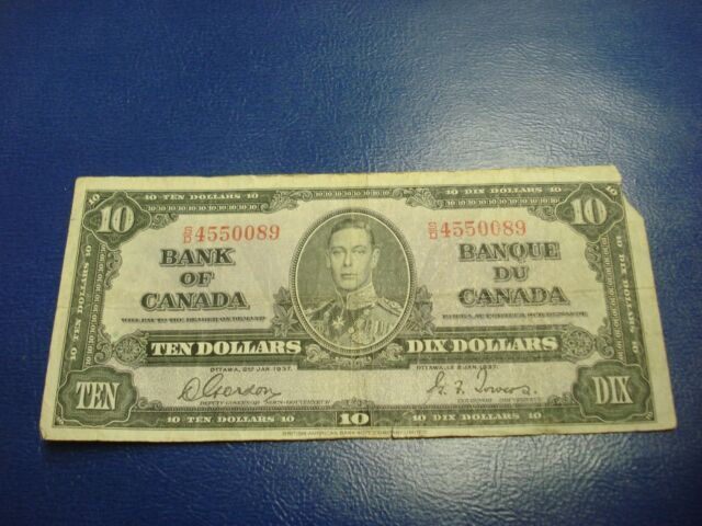 1937 Bank of Canada $10 note - ten dollar bill - SD4550089