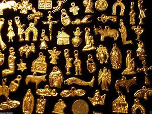 100-GOLD-Mexican-Folk-Art-Milagros-Charms-Exvoto-Nicho-Retablo-Charms-Lot