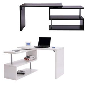 Details Sur Homcom Bureau Informatique Table D Ordinateur 2 Positions Avec Etagere