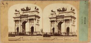 Italia-Milan-Arco-Di-La-Paix-c1860-Foto-Po-039-Tempo-amp-Gara-Stereo-Vintage-Albumina