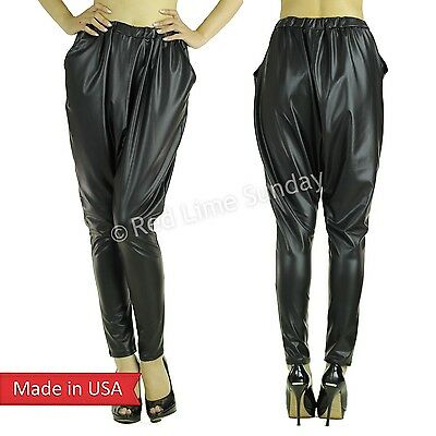 Color Drop Crotch Black Faux Leather Geometric Harem Genie Boho Hippie Pants USA