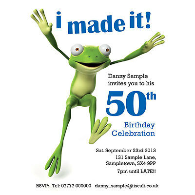 Personalised Funny Birthday Party invites, 40th, 50th, 60th -  free envelopes