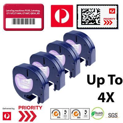 8PK Compatible For DYMO LetraTag Plus LT100T 16952 Plastic Black on Clear Tape