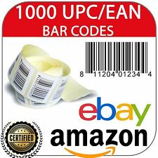 1000 UPC/EAN Code Numbers Barcodes Bar Codes Amazon eBay Approved and Certified
