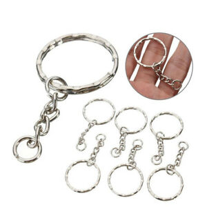 Wholesale 10pc Keyring Blanks Silver Tone Key Chains Findings Split Rings