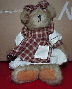 Vintage-Plush-Toy-Teddy-Bear-10-039-039-Figurine-with-cute-plaid-dress-bow-and-ribbon