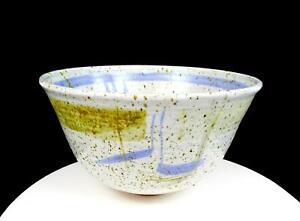 "STUDIO ART POTTERY GREY SPECKLED STONEWARE BLUE GREEN BRUSH STROKES 10 5/8"" BOWL"