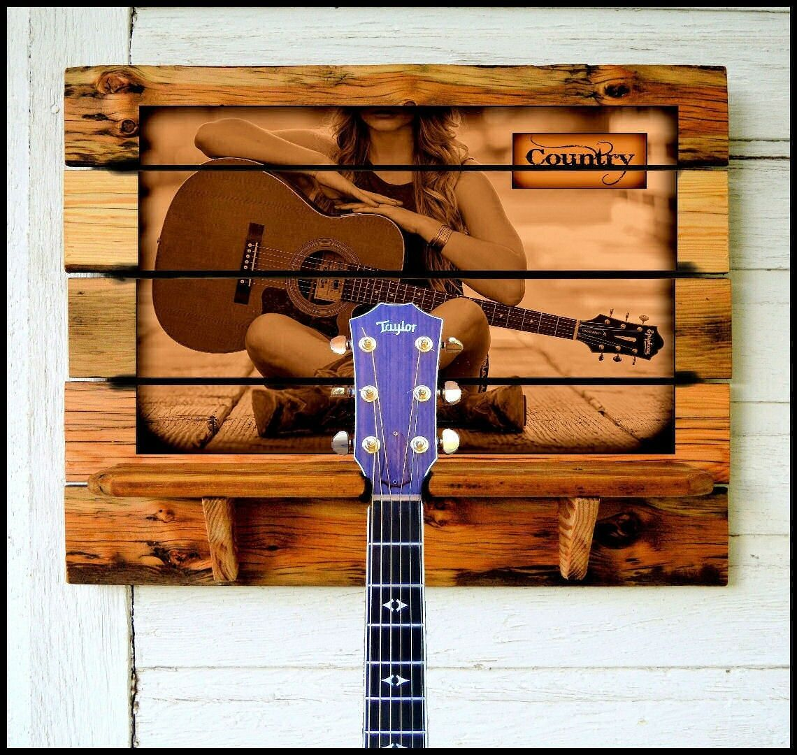 Guitar Rack  Country  (or Personalize your Photo or favorite Artist) Barn wood