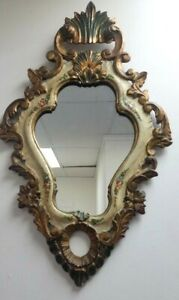 Hand-Painted-Tole-Mirror-Italy-Florentine-Gilded-Gold-Vtg-Carved-Wood-Frame-Chic