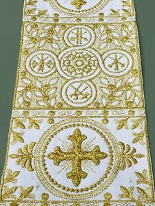 "Orphreys Cross Design 3/"" Embroidered Banding Assorted Colors Sold by Yard"