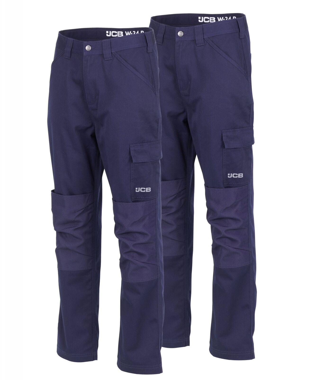 JCB Twin Pack ESSENZIALE Pantaloni Da Lavoro Cargo Blu Navy (varie dimensioni) degli uomini del Commercio