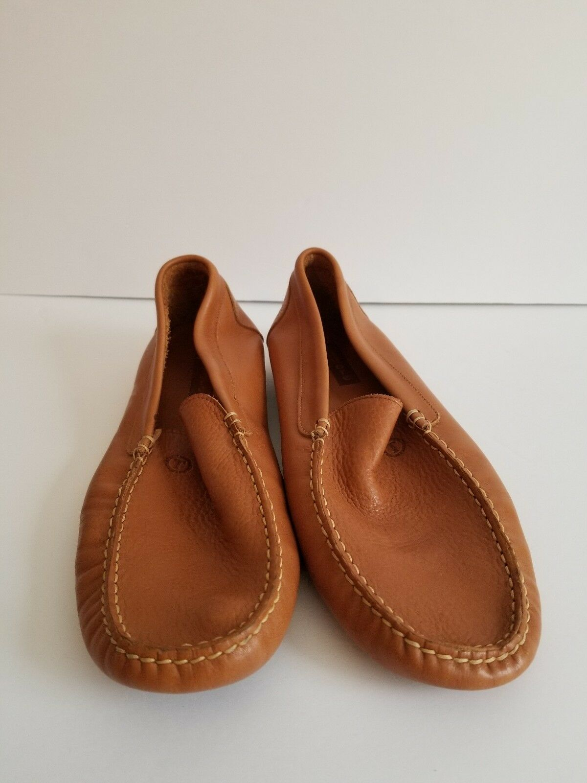 MENS TAGORE BROWN LEATHER LOAFERS SIZE 10.5