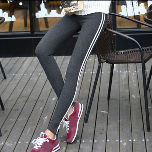 Women Sports Trousers Mid Waist Striped Casual Trousers Long Pants Yoga PantHGU