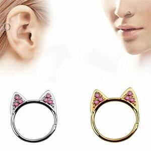 Jewelry Zircon Surgical Steel Cat Ear Studs Non Piercing Nose Ring Nostril Hoop Ebay