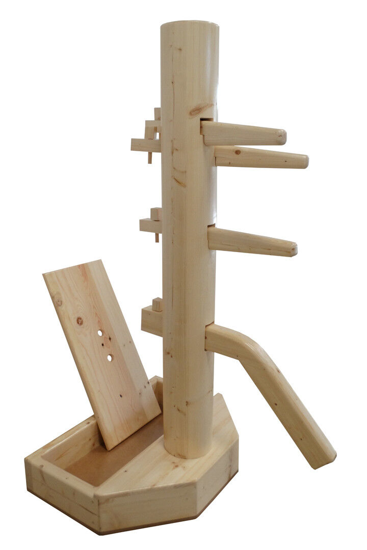 Wing Chun Wooden Dummy with Base Natural Farbe With Form And Cover