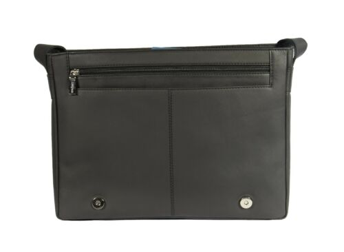 Mens Messenger BLACK Leather Bag iPad Laptop Vintage Shoulder Record MAN BAG New