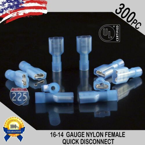 16-14 GAUGE 300 PC NYLON FULLY INSULATED QUICK DISCONNECT FEMALE .250 CONNECTOR