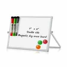 Merlerner 7 X 11 Magnetic Small Dry Erase White Board With Stand Adjustable