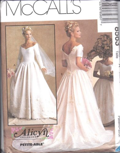 8563 UNCUT Vintage McCalls SEWING Pattern Alicyn Excl Bridal Gown Wedding OOP