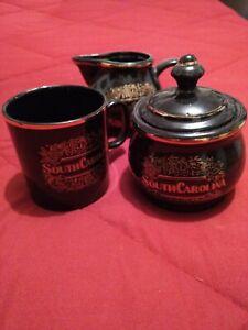 Vintage South Carolina Thé/Tasse à café, pot à lait et sucre cuisine set used