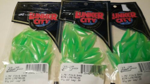"""20//Pack Limetreuse Shad Lunker City  Fin-S Shad 1 .75/"""""""