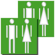 2 Stück 10cm Aufkleber Sticker WC Toilette Tür Wand Hinweis Zeichen Symbol