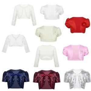 Girls-Short-Sleeves-Beaded-Bolero-Jacket-Wedding-Bridesmaid-Party-Formal-Shrug