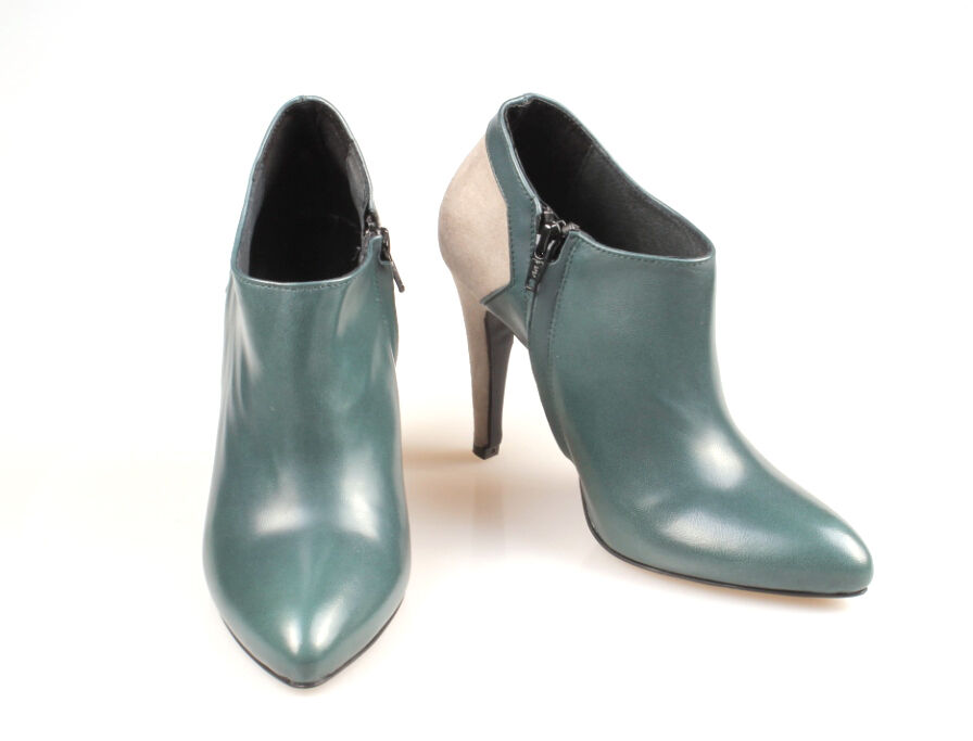 Booties ankle boots woman heeled LAURA BUSI REAL LEATHER
