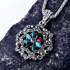 Womens Gold Filled Multi-Color Zirconia Cubic Stone Heart Pendant Necklace