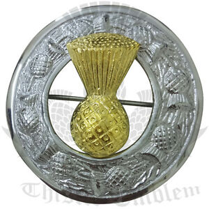 Men-s-Scottish-Kilt-Fly-Plaid-Brooch-Thistle-Emblem-Badge-Chrome-amp-Gold-3-034-Brass