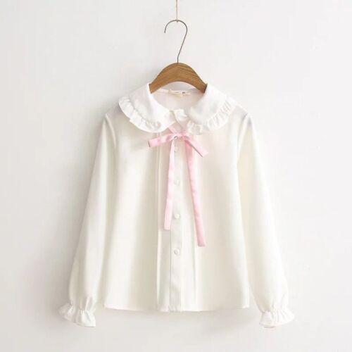 Women/'s Cute Chiffon White Shirt Lolita Bowknot Tops Lapel Cosplay Uniform Blous