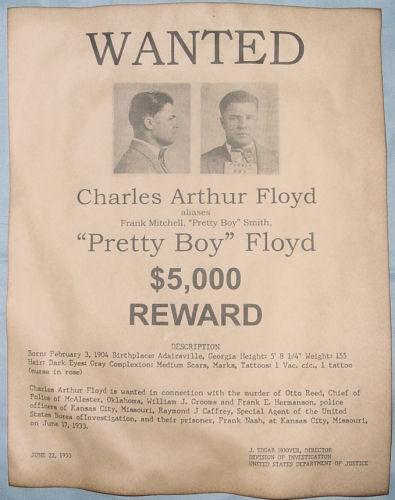 Pretty Boy Floyd Wanted Poster Gangster Outlaw Bank Robber Ebay