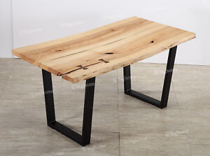 Details About 63 Long Ash Edge Wood Office Table Kitchen Dining Top Natural Desk Hand Craft