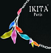 Luxus Statement Halskette IKITA Paris Kette Emaille Paillette Blatt Chocker Bunt