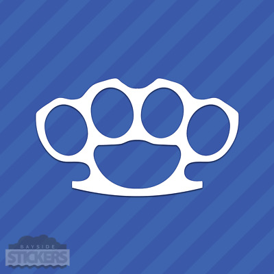 #294 FAKE SPIKE BRASS KNUCKLES WEAPON ANY SIZE COLOR CUSTOM VINYL DECAL STICKER