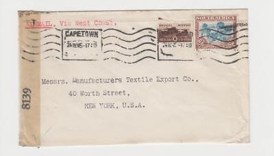 """PräZise Südafrika usa 1945 Zensor Luftpost Abdeckung """" Via Westküste """",1sh+2sh6d Lassen Sie Unsere Waren In Die Welt Gehen 8139"""